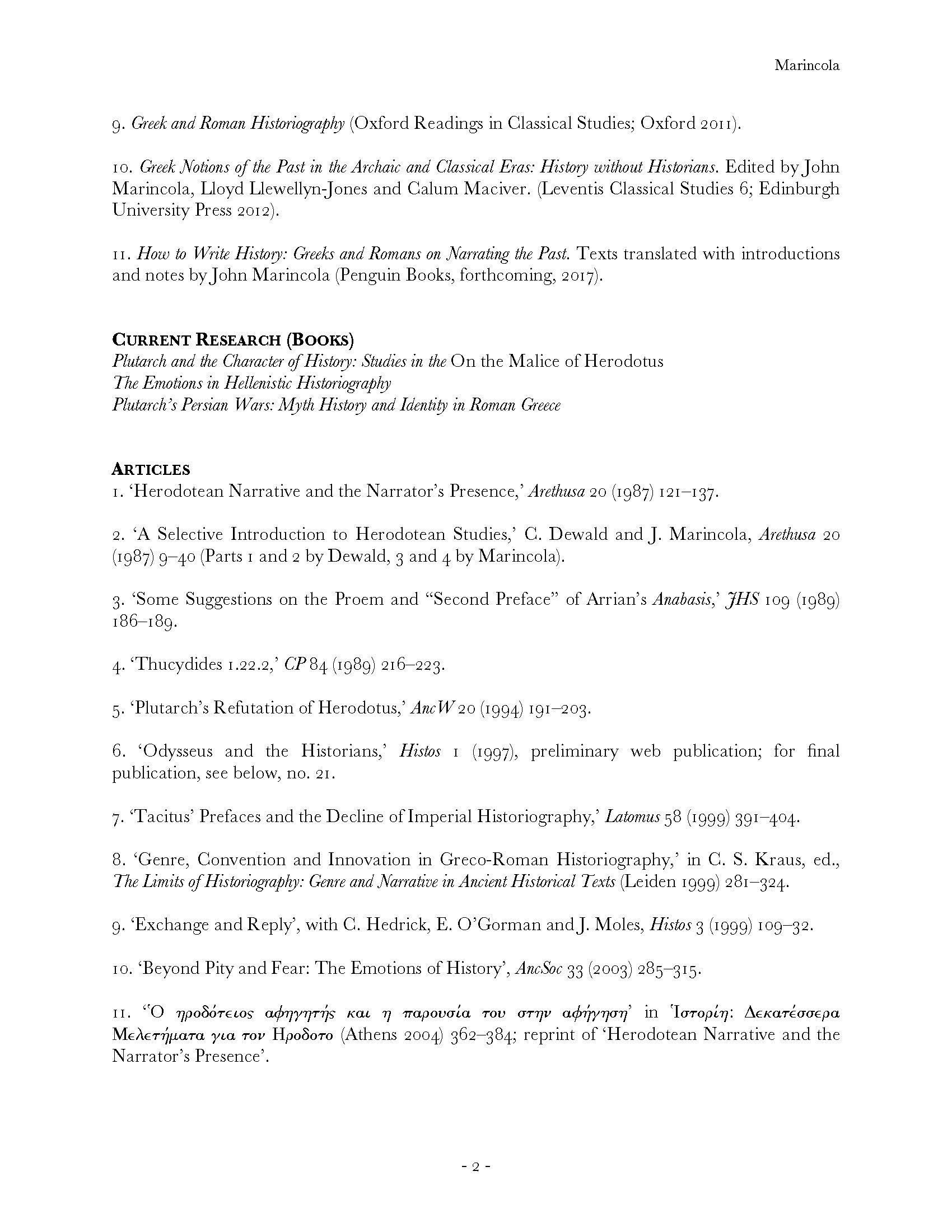 John Marincola | Department of Classics